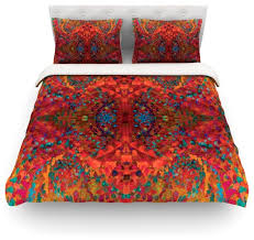 nikposium red sea orange abstract cotton duvet cover twin 68 x88