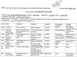 Tefl Teaching Class 8 Lesson Plan Level 3b Summary And Review