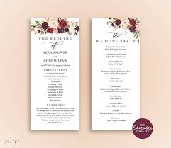 Templates For Wedding Programs Editable Wedding Program Template Order Of Ceremony