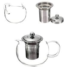 clear stainless steel heat resistant glass teapot infuser tea pot cod pots p