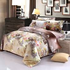 asian bedding sets brown and yellow inspired oriental flower blossom print rustic chic style cotton full asian bedding sets