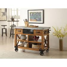 Distressed Kitchen Furniture Acme Furniture Kailey Distressed Oak Kitchen Cart With Storage