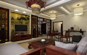 Interior:Stunning Oriental Living Room Interior Design With Tv And Wall  Shelves Ideas Appealing Chinese