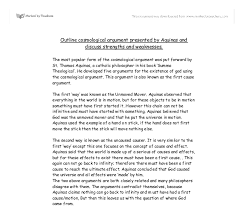outline cosmological argument presented by aquinas and discuss document image preview