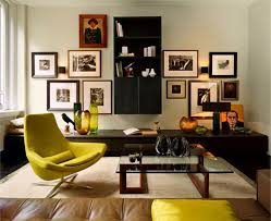 decorating idea family room. Stylish Decorate Family Room Ideas Photo Framed Wall Decoration Dark  Espresso Bookshelves Large Glass Coffee Table Yellow Lounge Chair Brown Tufted Decorating Idea Family Room R