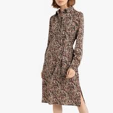 <b>Платье</b>-<b>рубашка</b> с длинными рукавами с завязками рисунок/фон ...