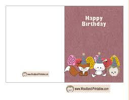 Cute Woodland Birthday Card Printable Free Printable