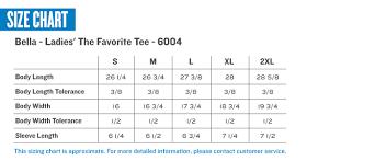 Bella Tee Size Chart Bella 6004 Favorite Short Sleeve T Shirt