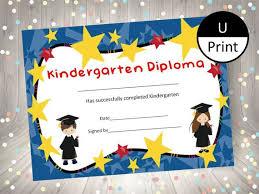 Kindergarten Graduation Child Kid Diploma Certificate Award Etsy
