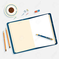 designer office desk isolated objects top view. flat design mockup per office workspace with open book and objects for creative workplace isolated on designer desk top view e