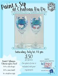 enjoy an afternoon out with friends and paint this fun design on a wine or a beer glass just in time for summer on the bay one glass of wine is included