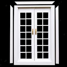 details about 1 12 dolls house miniature white wood double french doors frame diy decor