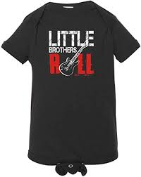 Big Brothers Rock Little Sisters Roll Cute Baby Announcement Matching Creepers And T Shirt