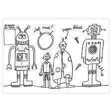 Bassetto Bimbi Tovaglietta Robot Da Colorare Tessuto Libri E