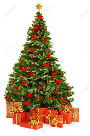 christmas trees decorated with presents. Contemporary Presents Christmas Tree And Presents Gifts Xmas Decorated With Toys Isolated  On White Stock Intended Trees With 123RFcom