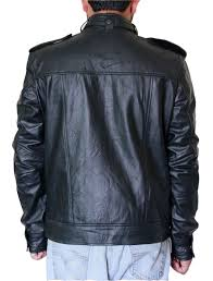 men s black stud pocket biker leather jacket