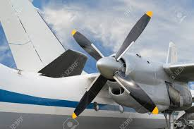 Close Up Of Airplane Turboprop Engine With Propeller, Parts Of ...