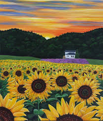 field of sunflowers and lavender how to make acrylic painting less stressful