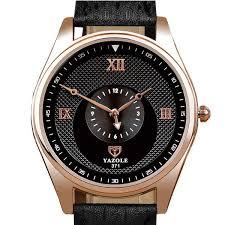 yazole 371 fashion men quartz watch simple leather strap wrist watch no 4 cod