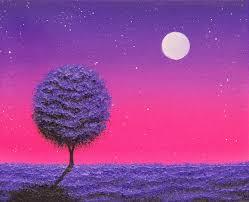 night landscape painting moon painting purple tree nightscape 8 x 10 original oil painting