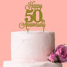 Happy 50th Golden Wedding Anniversary Cake Topper Buy 50th Wedding