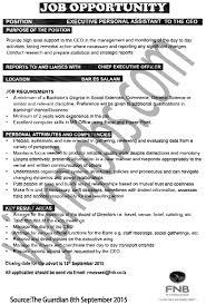 executive personal assistant tayoa employment portal job description