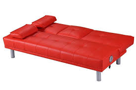 manhattan built in bluetooth speakers red faux leather sofa bed