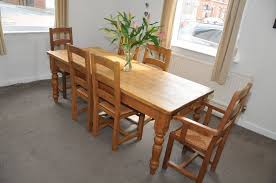 dark pine farmhouse dining table and 6 chairs posot class