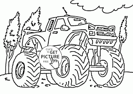 Small Picture Serious Monster Truck coloring page for kids transportation