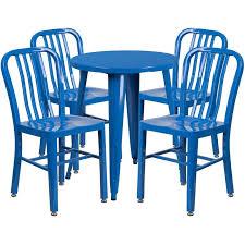 piece 24 round metal dining set
