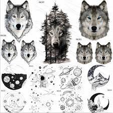 Ommgo лес этнический с волком мужчины женщины временные татуировки