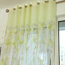 Light Green Floral Print Yarn Sheer Curtains