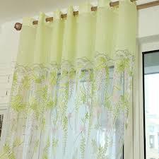 Light Green Floral Print Yarn Sheer Curtains