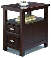 dempsey dark brown sofa end snack chairside table with deep storage drawer