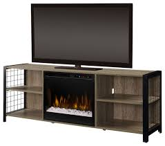 dimplex asher media console electric fireplace with glass ember bed industrial entertainment centers and tv stands by addco electric fireplaces