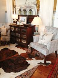 Entrancing Home Interior Decoration With Cowhide Rug : Gorgeous Dining Room  Decoration Using Light Grey Velvet