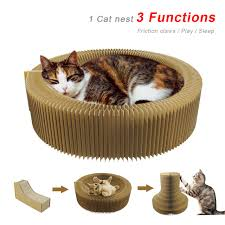 cat scratcher lounge. Cat Scratcher Cardboard Collapsible Lounge Bed Interactive Toy Kitten Scratching Pad For