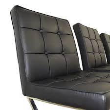 75 off west elm west elm black tufted leather chairs