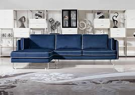 contemporary blue fabric sectional sofa with white piping boston