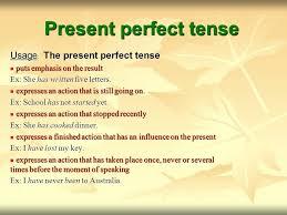 present continuous present perfect