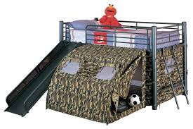 bunk bed with slide and tent. Kids Bedroom Ideas : Tent Boys Fun Play Lofted Twin Bunk Bed With Slide Camouflage Black Metal Frame Modern The Best Of And
