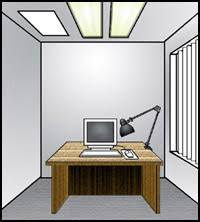 workstation lighting. Figure 1. Blinds Are On The Windows And Monitor Is Placed At An Angle Workstation Lighting