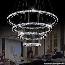 sefinn four led crystal chandelier 4 rings modern flush mount crystal ceiling light pendant lights adjule