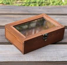 the retroing pine wooden box wooden tea box with glass lid