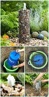 diy fountain ideas caged rock water