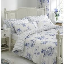 cotton helena springfield margueritte blue and white fl reversible duvet cover