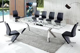 contemporary glass dining table now a dining table and 8 chairs nabu glass extendable modern dining table clear
