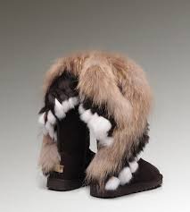 UGG Fox Fur Tall Boots 8688 Chocolate Discount