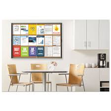 enclosed indoor cork bulletin board w sliding glass doors 56 x 39 silver frame