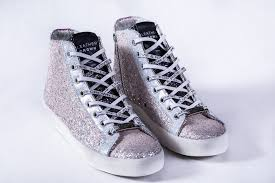 leather crown rose silver glitter high top sneaker